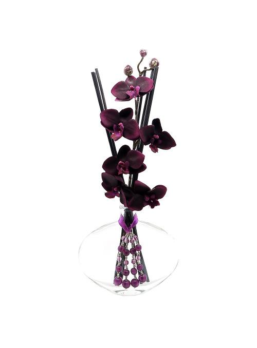 Vase diffuseur orchidée aubergine et pampille