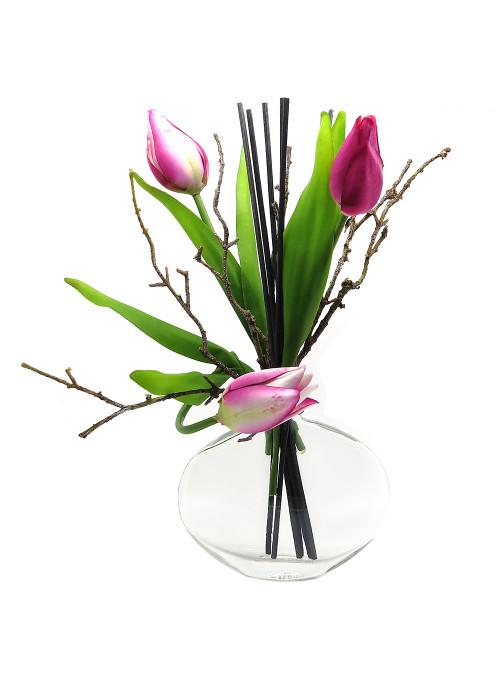 vase diffuseur bouquet de tulipes roses